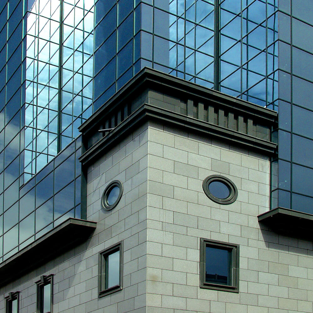 Facade detail view of Grand Hotel Sofia, completed with BILDA rainscreen system