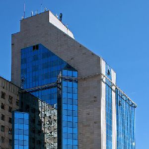 A detail view of the Gazprom Administrative Building
